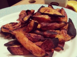 Broiled Sweet Potato Fries / Cinnamon and Sea Salt